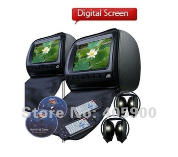 DIGITAL SCREEN 9 inch HD Headrest Car DVD player with zipper cover/Games/USB/SD, IR Headphones