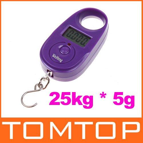 25kg*5g 25kgx5g 25kg-5g Mini Purple Display Hanging Luggage Fishing Weighing Digital Scale KG LB, freeshipping dropshipping(China (Mainland))