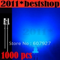 Wholesale 3mm Flat Top Blue LED 3000pcs/lot  Wide Angle 5000MCD Light, 3mm flat top diodes ,3mm flat top led freeshipping