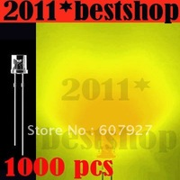Wholesale 3mm Flat Top Yellow LED 3000pcs/lot Wide Angle 5000MCD Light 3mm flat top diode freeshipping