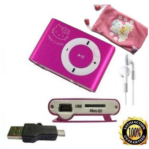 2011 Hot selling hello kitty Mp3 player with card slot + 100% real 4GB micro sd card free shipping 1pcs(China (Mainland))