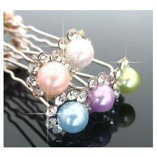 Free ship!180pc! Headgear / hair accessories / ladies U-shaped clip / pearl flower diamond hair clasp / hairpin/12color choice