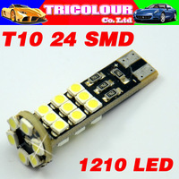HK POST FREE!!! T10 24 SMD 1210 Canbus Car turn signal light indicator led bulb 194 168 501 W5W led bulb 12V 50pcs/lot #LB19
