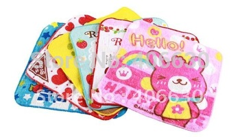 kid children cartoon small square towel, 20*20cm, 60pcs/lot, Wedding/Party gift towel, 100% cotton, Free shipping