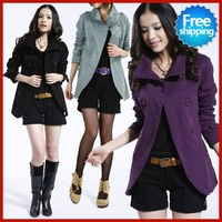 Sale New Plus size women's winter high quality double breasted wind coat cotton jacket 4 colors M L XL XXL  free shipping WC007