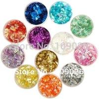 12 POTS ICE MYLAR GLITTER SET Nail Decoration Nail Glitter Rhinestone Set Free Shipping