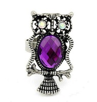 TJ029 free shipping 12pcs/lot fashion owl rings high-grade silver rings alloy crystal rings best jewelry best gift