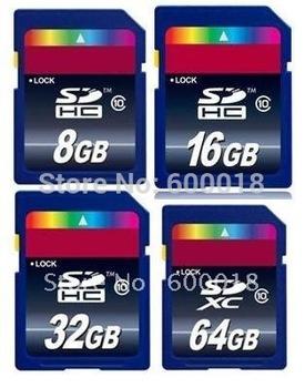 Free shipping by china post Full Capacity Class10 SDHC 4GB 8GB 16GB 32GB SDXC 64GB SD Card Memory Free Christmas Gift:box