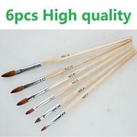 HOTSALE 5pcs/SET 2#/4#/6#/8#/10#12# Kolinsky Sable Brush Pen Acrylic Nail Art Builder Brush Design for acrylic nail brushes set