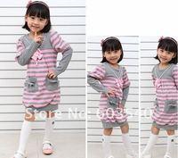 5pcs/lot wholesale HOT sell girls dress Korean Fashionable princess dress / 2 color kid stripe dress(Pink & blue)