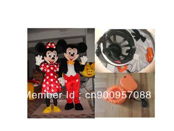 Mickey O Minnie mouse traje de la mascota del ventilador de refrigeración incluido POLY cabeza de la espuma