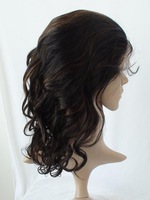 Black with Auburn Highlights human hair full lace wig body wave 12inch 1b30