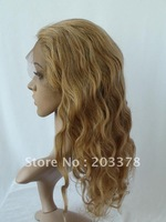 "Free shipping Lady's wig blonde human hair wig full lace wig Body Wave 12""-24""27/613 mix"