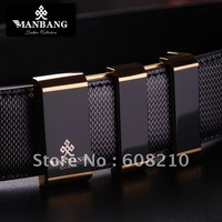 Free shipping waist belt,top brand men leather belts,hot Genuine men belts MB0050(Gold diamond Stripe )