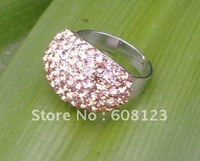 Fashion (ten colors/lot)ladies rhinestone rings with adjustable size