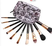 Flower 10 pcs makeup brushes set + 2 case TRAVEL BAG B