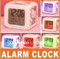 Best selling,Hello Kitty Glowing LED 7 Color Change Digital Alarm Mood Clock, Multifunction music led Colourful clock