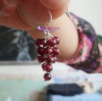 Grape Shaped 925 Silver Garnet Dangle Earring Jewelry,Silver Drop Earring Jewellery,Pendant Earring