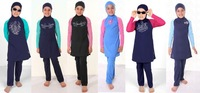 Free shipping! Door to door by DHL express ! Wholesale Modest Girls Muslim swimwear Children swimsuits for muslim