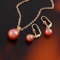Copper Alloy 18K Gold Plated Pearl Necklace Pendant and Hoop Earring Jewelry Sets