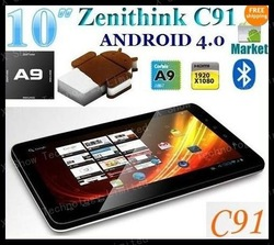 disscount shipping 1gb ram 8gb hdd 10.2 inch zenithink zt280 c91 zpad A9 capacittive touch with camera ANDROID 4.0(China (Mainland))