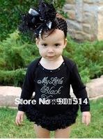 Free shipping Black color Ruffle baby lace pettiskirts romper long sleeve girls Romper 3 pcs/lot