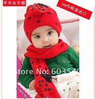 Wholesale Baby Lady beetles hat + scarf Beetle decorated scarves hat set / children wool winter hat, 10pcs/lot