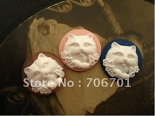 Free shipping 25mm 4colors Resin Cat cameo Cabochon for DIY Jewelry Decoration Accessories Wholesale 100pcs/lot