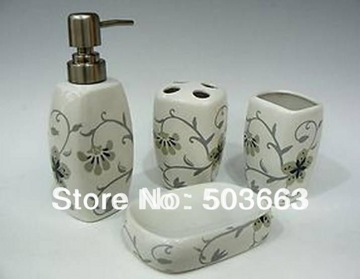 Free Shipping Modern Design 4pcs Ceramic Bathroom Accessory Set Beautifull Flower b2168S(China (Mainland))