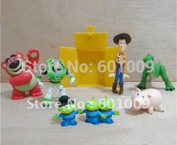 Free shipping EMS 20/Lot 7 pcs Toy Story 3 Woody Buzz Lotso Rex Dinosaur Green Man Hamm Pig Figures Set Wholesale