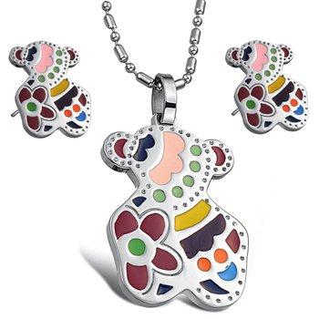 OPK JEWELRY SET stainless steel earring pendants necklace Studs Earring cut little bearJEWELLERY SETS New Arrival free shipping