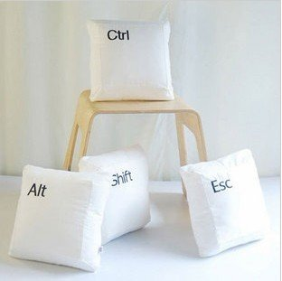 Hot selling ! NEW keyboard letter keys pillow/cushion cotton pillow white and black Alt, Ctrl, Esc, Shift  free shiping