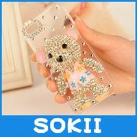 3D Little Bear bling diamond handmade case cover for Iphone 4,For iphone 5/Iphone 5C luxury 3D Bear bling diamond case cover