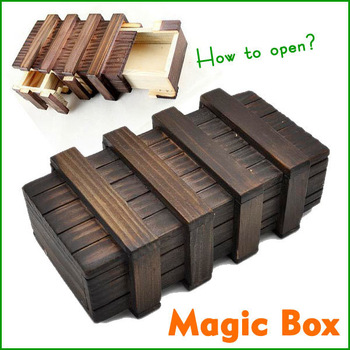 Larger Magic Puzzle Wooden Box with Secret Drawer Educational Toys Luban Lock