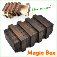 Larger Magic Puzzle Wooden Box with Secret Drawer Educational Toys Luban Lock Free shipping