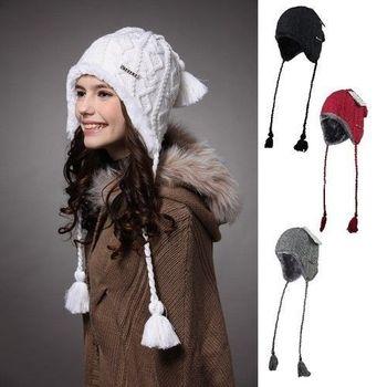 Kenmont Winter Women Caps Hats Holiday Sale Hot Selling Plush Earflap Hat Knitted Wool Beanie Cap KM-1140