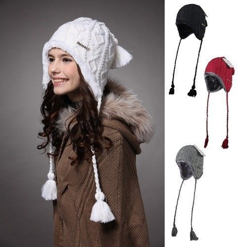 Women Caps Hats Holiday Sale -50% Hot Selling Plush Earflap Hat Knitted Wool Beanie Hat KM-1140(China (Mainland))