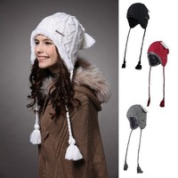 Women Caps Hats Holiday Sale -50% Hot Selling Plush Earflap Hat Knitted Wool Beanie Hat KM-1140