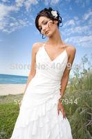 V-Neck White Chiffon Beautiful Designer Beach Wedding Dresses Tiered Lace up Bridal Dress 2015 New Arrival vestidos de noiva