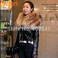 Women Super Large Luxury Real Fur Collar Genuine Natural Leather Jacket Short Coat WP1016