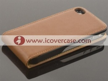 china leather case manufacturer wholesaler genuine leather flip case for iphone 4 4G 4S