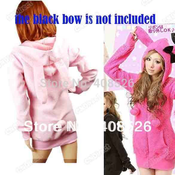 Women's Hoody Sexy Top Cute Rabbit Ears Fluffy Balls Sherpa Sweatshirts hoodies Wholesale 4 colors free shipping  3275