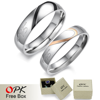 "OPK JEWELRY 2 rings Free Box! ""Real Love"" 316L Stainless Steel half Heart Couple ring for Wedding/ Engagement hot promise ring"