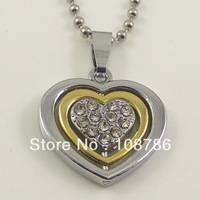 10pcs alloy necklace love heart spin pendant fahison necklace crystal rhinestone jewelry free shipping
