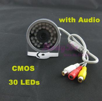 30 из светодиодов ИК проводной видеонаблюдения видео аудио камеры безопасности