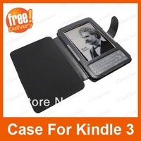 Black PU Leather Case for Amazon Kindle 3 3G Keyboard Wifi Pouch Cover,Bluecosto,free shipping