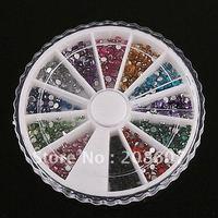 Freeshipping 1200pcs Nail Art Nail Decoration2mm Round Imitation Rhinestones Glitter Sticker/Decal  + WHEEL