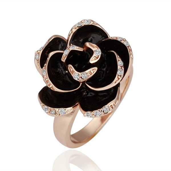 18KGP R089 Rose 18K Gold Plated Ring Health Jewelry Nickel Free White Gold Rhinestone Austrian Crystal  Element