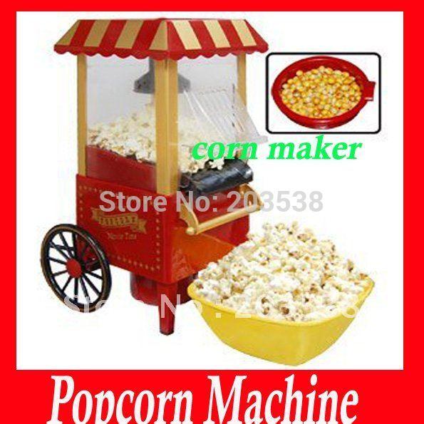 2014 Christmas Gift Diy Mini Carriage Shape Nostalgic Hot Air Popcorn Machine Poper Pop Corn Maker Popcorn Popper 220V(China (Mainland))