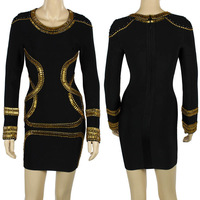 Hot Selling Top Quality Bandage Dress J126 Long Sleeve Beaded Evening Party Dress